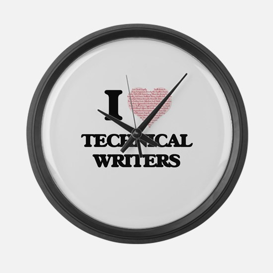 I love Technical Writers (Heart m Large Wall Clock