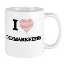 I love Telemarketers (Heart made from words) Mugs