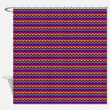 Red Blue Purple Yellow Up Down Rows Shower Curtain