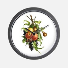 Peaches, Plums, Grapes and Pears by Red Wall Clock