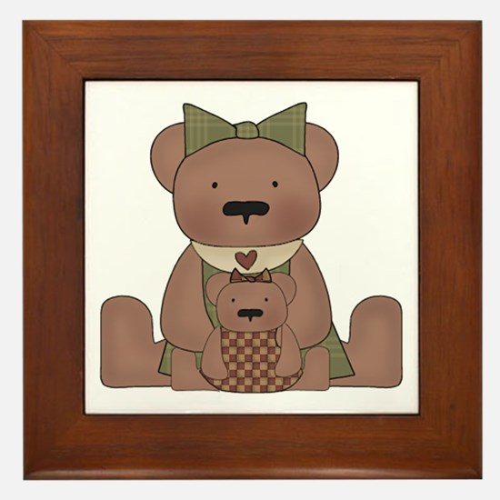 Teddy Bear With Teddy Framed Tile