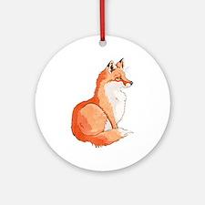 Sitting Fox Round Ornament