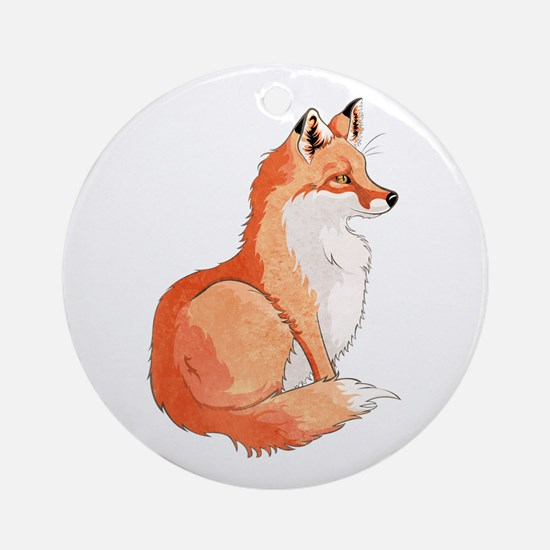 Sitting Fox Round Ornament