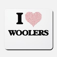 I love Woolers (Heart made from words) Mousepad