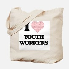 I love Youth Workers (Heart made from wor Tote Bag