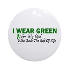 Green For Dad Organ Donor Donation Ornament (Round