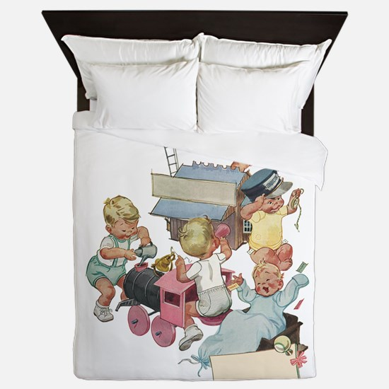 Vintage Children Playing Queen Duvet