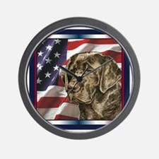 Labrador Retriever Patriotic USA Flag Wall Clock