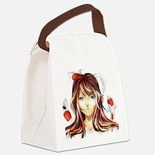 Anime Girl With Japanese Koi Canvas Lunch Bag