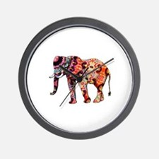 Cute Red elephants Wall Clock