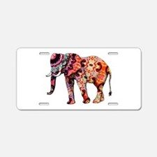 Orange Elephant Aluminum License Plate