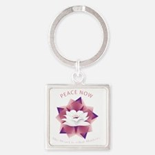 Cute Peace now Square Keychain