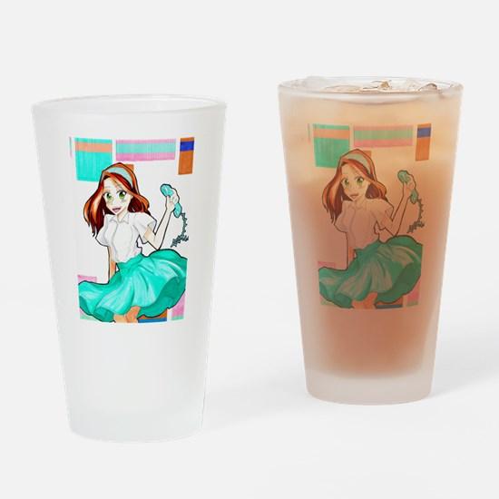 50's Girl Drinking Glass