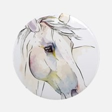 White Horse Eyes Round Ornament