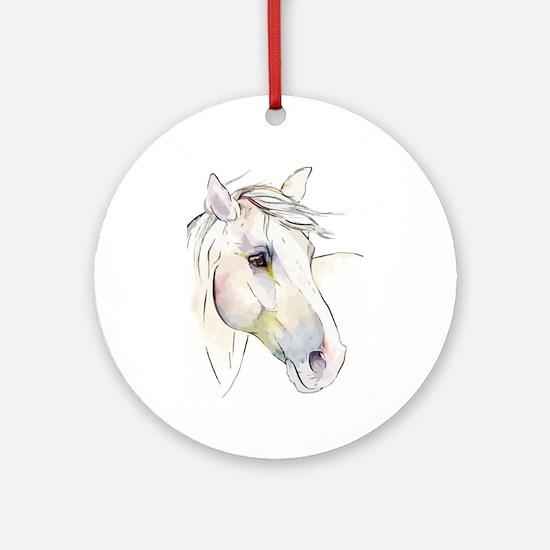 White Horse Eyes Round Ornament