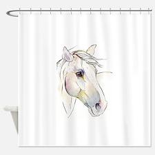 White Horse Eyes Shower Curtain
