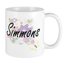 Simmons surname artistic design with Flowers Mugs