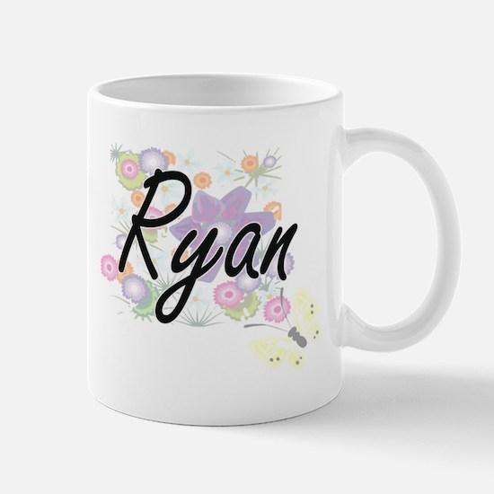 Ryan surname artistic design with Flowers Mugs