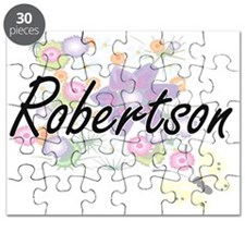 Robertson surname artistic design with Flow Puzzle