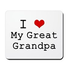 I Heart My Great Grandpa Mousepad
