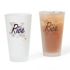 Rice surname artistic design with F Drinking Glass