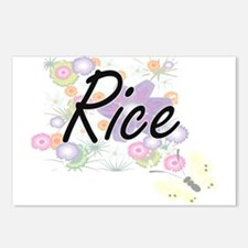 Rice surname artistic des Postcards (Package of 8)