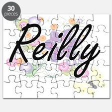 Reilly surname artistic design with Flowers Puzzle