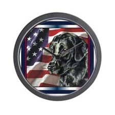 Labrador RetrieverPatriotic USA Flag Wall Clock