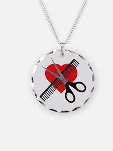 scissors & comb & heart Necklace