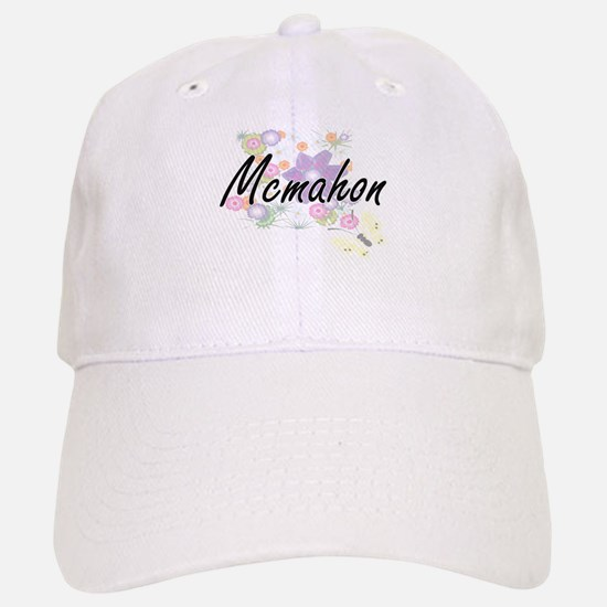 Mcmahon surname artistic design with Flowers Baseball Baseball Cap