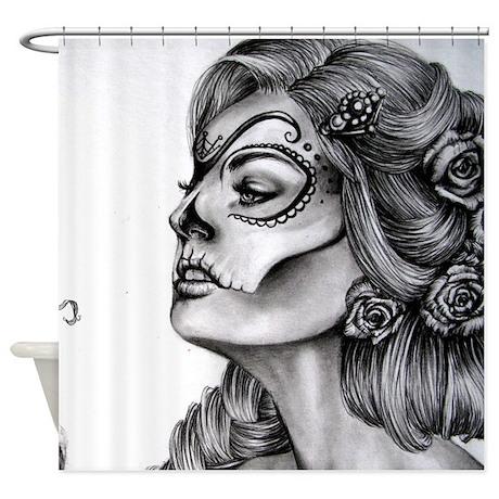 Dia De Los Muertos Drawing Shower Curtain By Wickeddesigns4