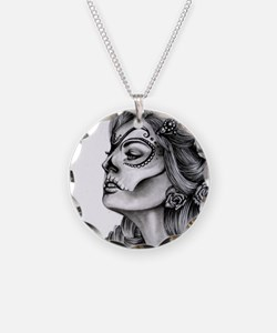 Dia De Los Muertos Drawing Necklace Circle Charm