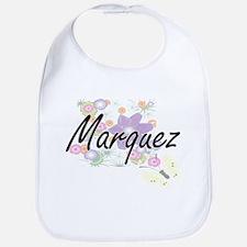 Marquez surname artistic design with Flowers Bib