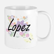 Lopez surname artistic design with Flowers Mugs