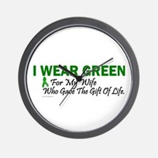 Green For Wife Organ Donor Donation Wall Clock
