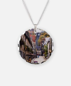 Old Quebec, Rue Sous Le Fort Necklace Circle Charm