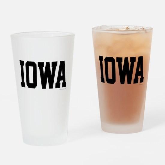 Iowa Jersey Font Drinking Glass