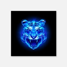 "Blue Fire Tiger Face Square Sticker 3"" x 3"""