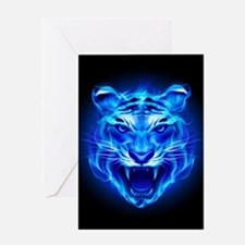 Blue Fire Tiger Face Greeting Card