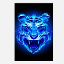 Blue Fire Tiger Face Postcards (Package of 8)