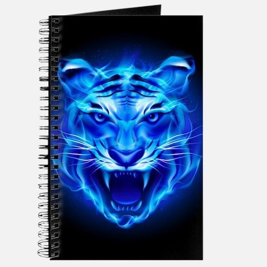 Blue Fire Tiger Face Journal