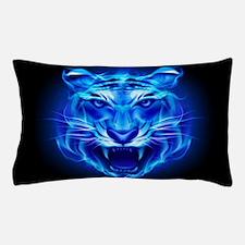 Blue Fire Tiger Face Pillow Case
