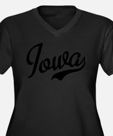 Iowa Script Women's Plus Size V-Neck Dark T-Shirt