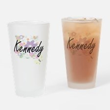 Kennedy surname artistic design wit Drinking Glass