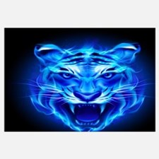 Blue Fire Tiger Face Wall Art