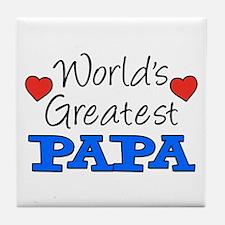 World's Greatest Papa Drinkware Tile Coaster