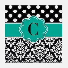 Black Teal Dots Damask Monogram Tile Coaster
