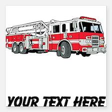 "Fire Truck (Custom) Square Car Magnet 3"" x 3"""