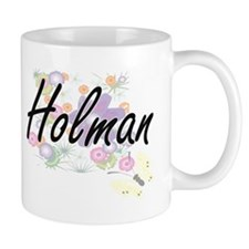 Holman surname artistic design with Flowers Mugs
