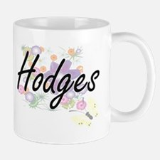 Hodges surname artistic design with Flowers Mugs